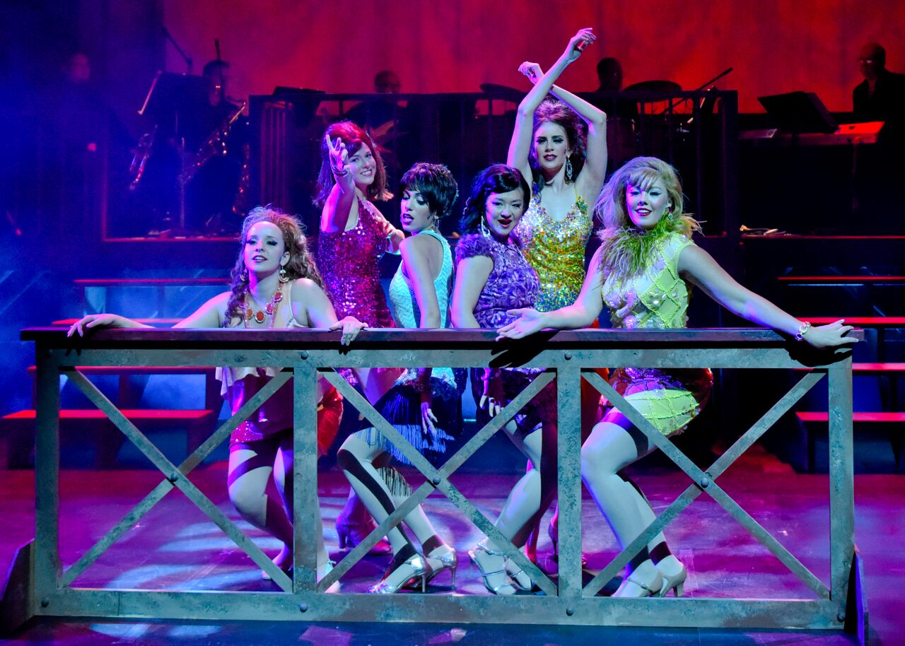 Courtney Stewart Kellie Carroll Kia Boyer Lindsay Longacre Monique Abry Ashley Markgraf in Sweet Charity at WaterTower Theatre photo by Karen Almond
