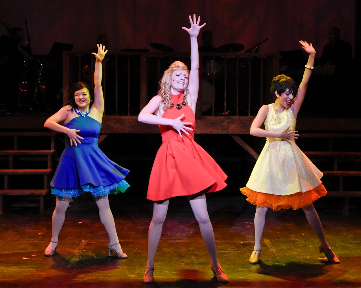 left to right Lindsay Longacre Whitney Hennen Kia Boyer in Sweet Charity at WaterTower Theatre photo by Karen Almond